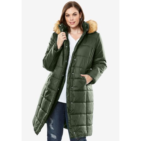 Plus Size Midi-length Quilted Parka With Faux-fur Hood (Quilted Faux Leather Jacket Red)