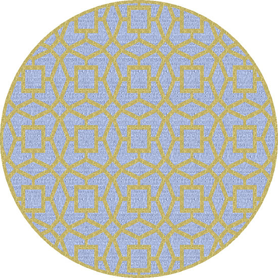 8' Geometric Abstract Gray and Yellow New Zealand Round Wool Area Throw Rug
