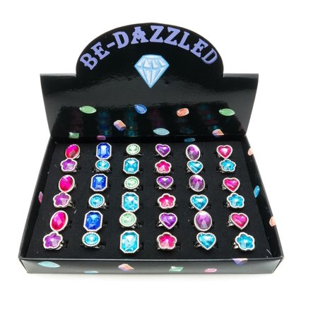 Frogsac Assorted Shapes Gem Colors Faceted Bedazzled Faux Stones Adjustable Rings Tray - 36 pcs - Great Party Favors - Bedazzled Jewels