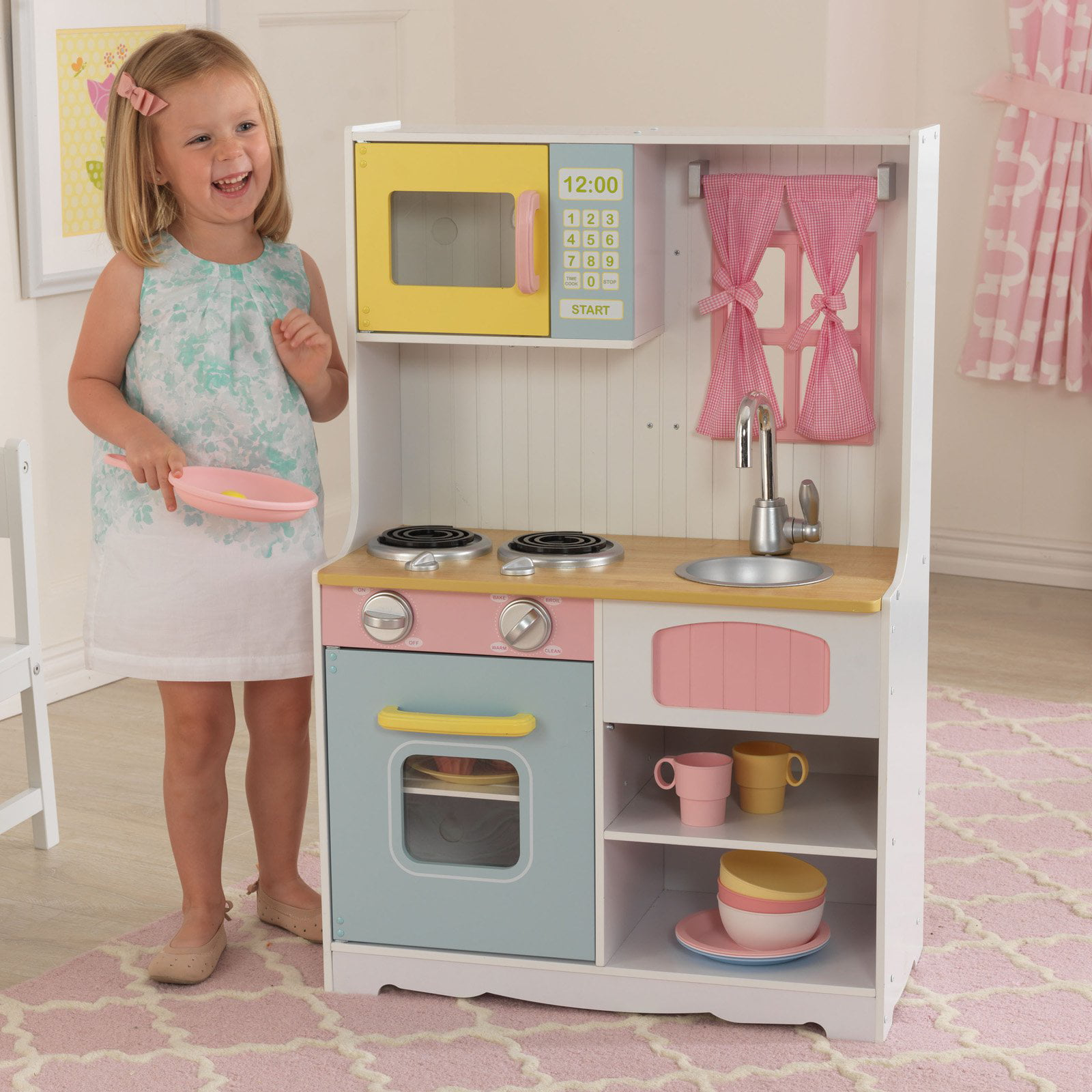 KidKraft Pastel Country Play Kitchen   53354   Walmart.com