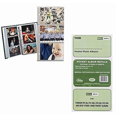 Pioneer Refill Pages For 3 Ring Photo Albums 4x6 Inch 2 Pack