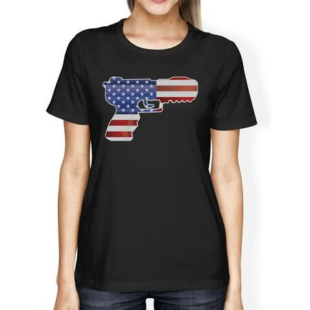 Pistol Shaped American Flag Womens Black T-Shirt For Gun