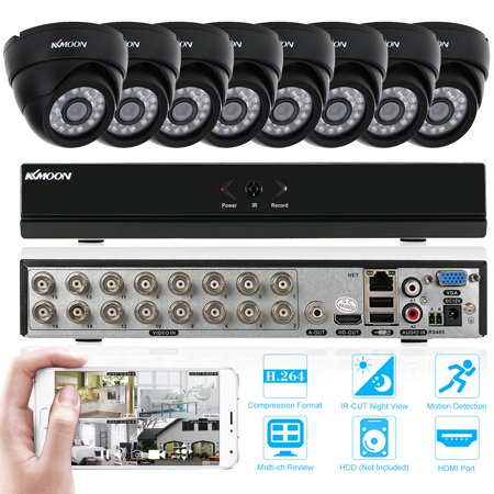 - KKmoon 16CH 1080P Hybrid NVR AHD TVI CVI DVR 5-in-1 Surveillance Security System with 8/12/16pcs 800TVL IR-CUT Night View Indoor CCTV Camera