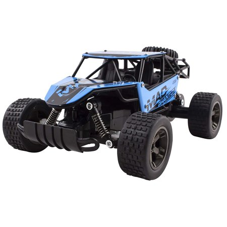 (RC Truck 2.4 GHz Mad Turbo King Cheetah Diecast Body Remote Control Buggy Car 1:18 Scale RTR With Working Off-Road Suspension High Speed Radio Control Hobby Truggy Rechargeable Battery Included (Blue))