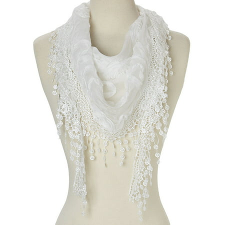 Lightweight Triangle Floral Fashion Lace Fringe Scarf Wrap for - Scary Clips For Halloween