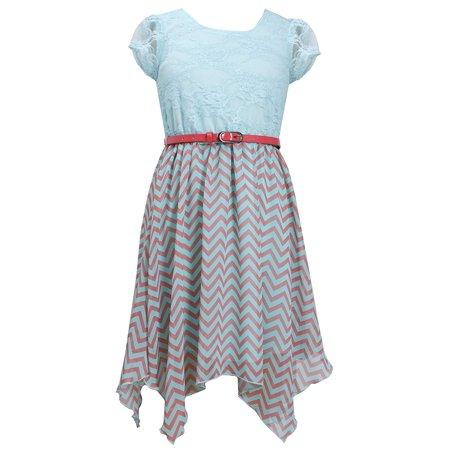 Big Girl Tween Lace to Chevron Stripe Print Chiffon Hanky Hem