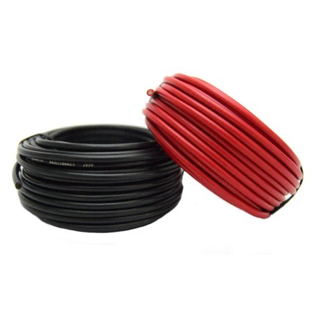 14 Gauge Stranded Wire - 14 Gauge Red & Black Power Ground Wire 25 FT each 50' Total Stranded Copper Clad