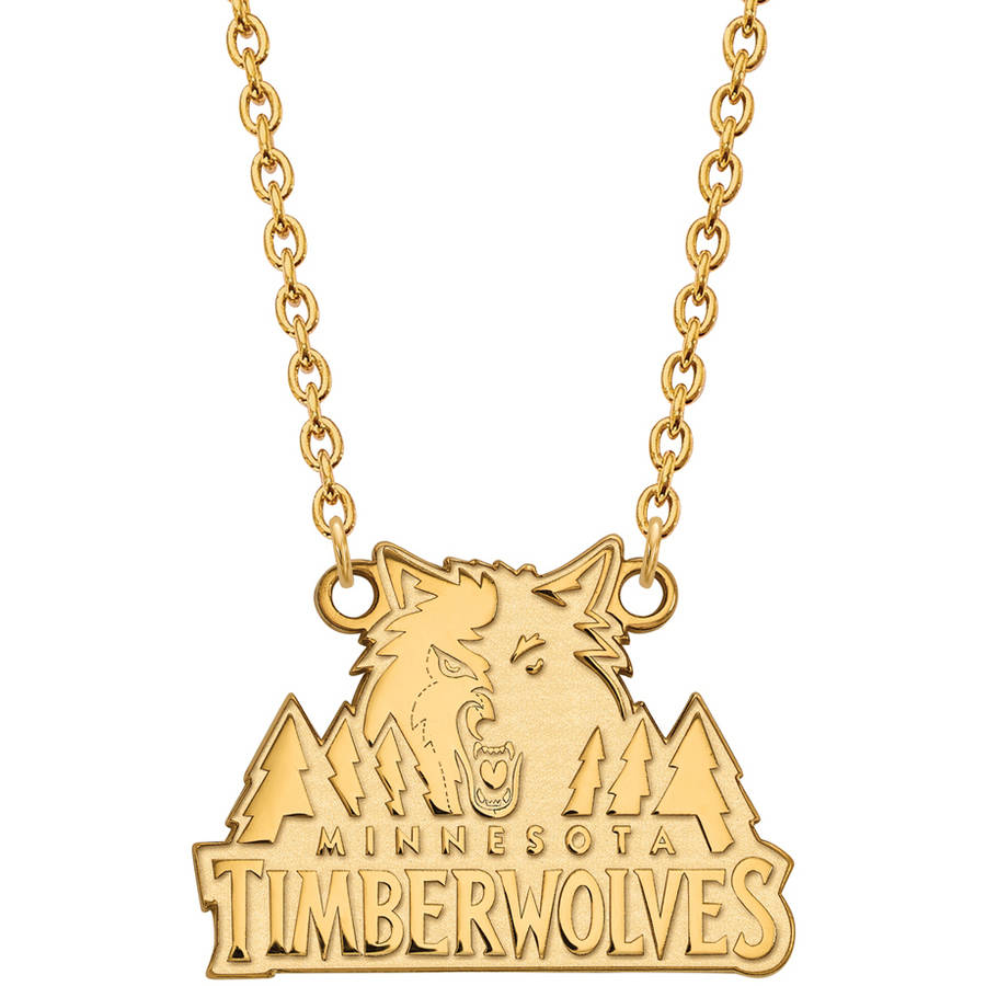 LogoArt NBA Minnesota Timberwolves 14kt Gold-Plated Sterling Silver Large Pendant with Necklace