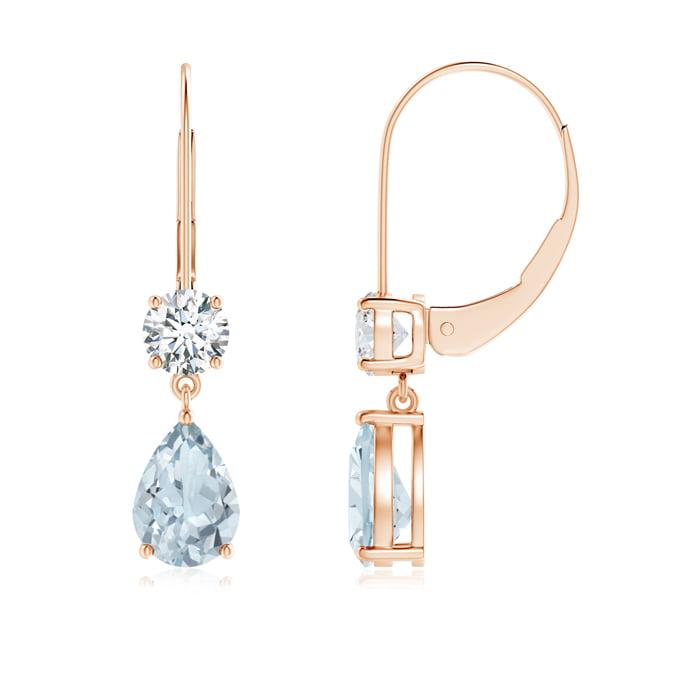 Angara Aquamarine Birthstone Earrings in Rose Gold nrGaRQLdvd