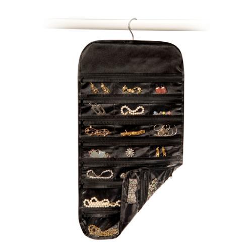 Black Satin 37 Pocket Hanging Jewelry Organizer