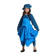 KidCuteTure Little Girls Blue Pick-up Carmen Trendy Fall Designer Dress 2-6