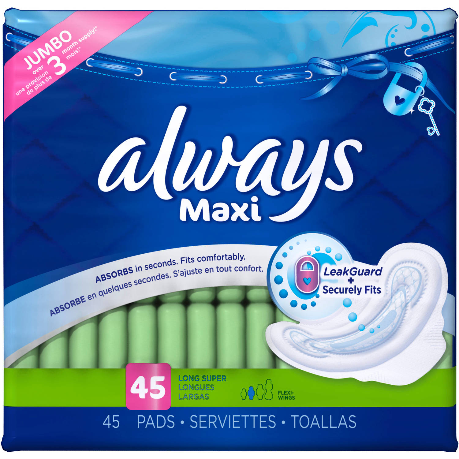 Always Maxi Size 2 Long Super Pads with Wings, Unscented, 45 Count