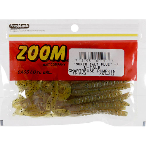 Zoom U-Tail Worm, Chartreuse Pumpkin, 20ct