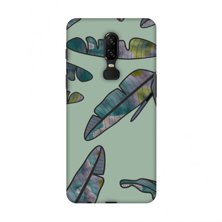OnePlus 6 Case - Lined Banana Leaves - Pale Green, Hard Plastic Back Cover, Slim Profile Cute Printed Designer Snap on Case with Screen Cleaning Kit