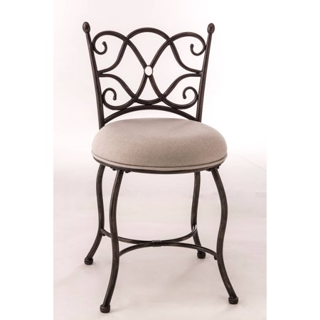 Brody vanity stool gray with rubbed black finish - Tall vanity chair ...