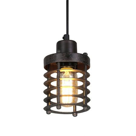 LNC Mini Cage Pendant Lights Rust Industrial Lighting Ceiling Pendant Fixtures - Light Fixtures Oval Bulkhead Cage