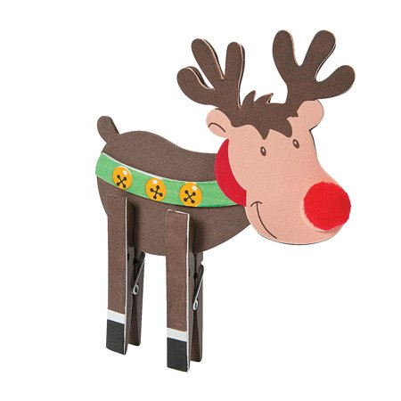 Fun Express - Reindeer Clothespin CK-12 for Christmas - Craft Kits - Home Decor Craft Kits - 3 - D Tabletop - Christmas - 12 Pieces - Reindeer Clothespin Craft