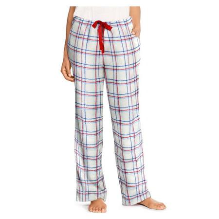 Women's Hanes Plaid Fleece Pajama Pants White ()
