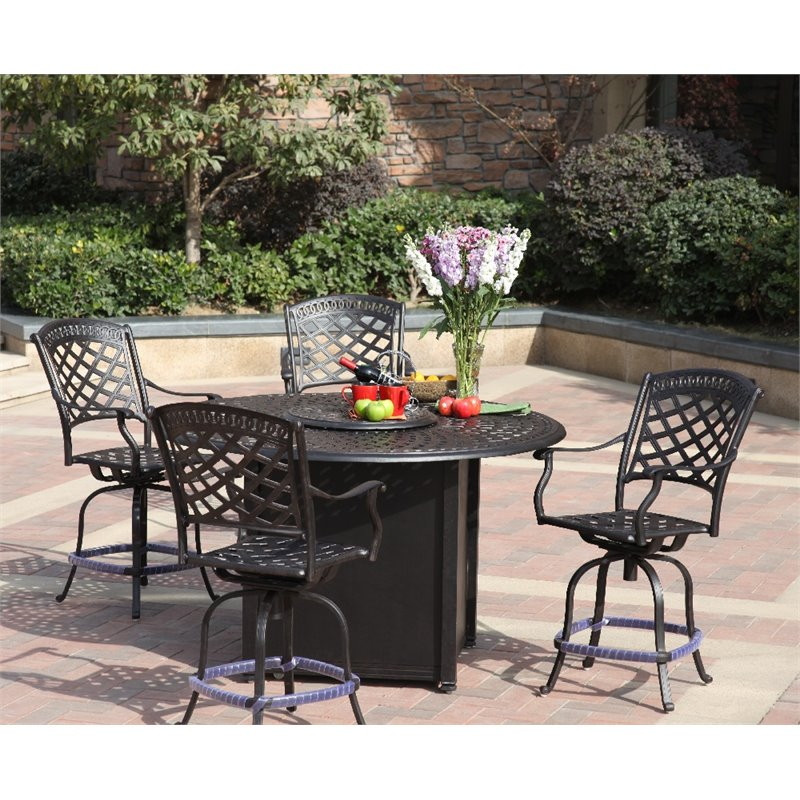 Darlee Sedona 5 Piece Patio Counter, Bar Height Patio Table With Fire Pit