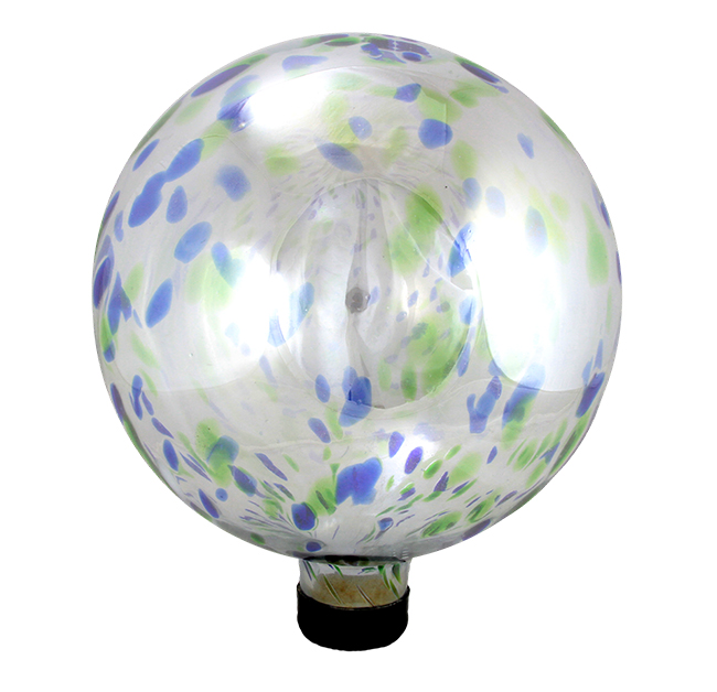 "10"" Speckled Blue and Green Transparent  Glass Outdoor Patio Garden Gazing Ball"