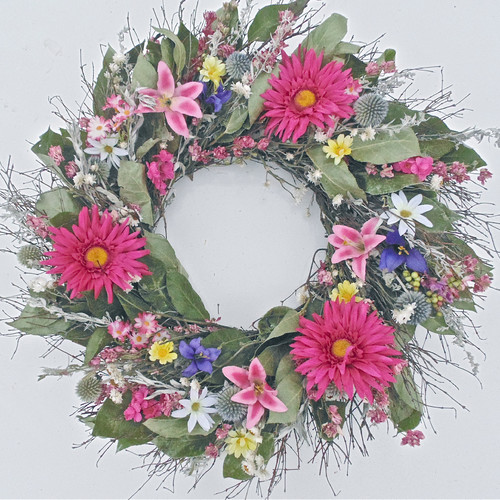 Dried Flowers and Wreaths LLC Festive Spring 22'' Silk Wreath