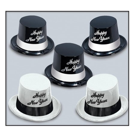 New Year Party Hats (Club Pack of 25 Black and White Legacy