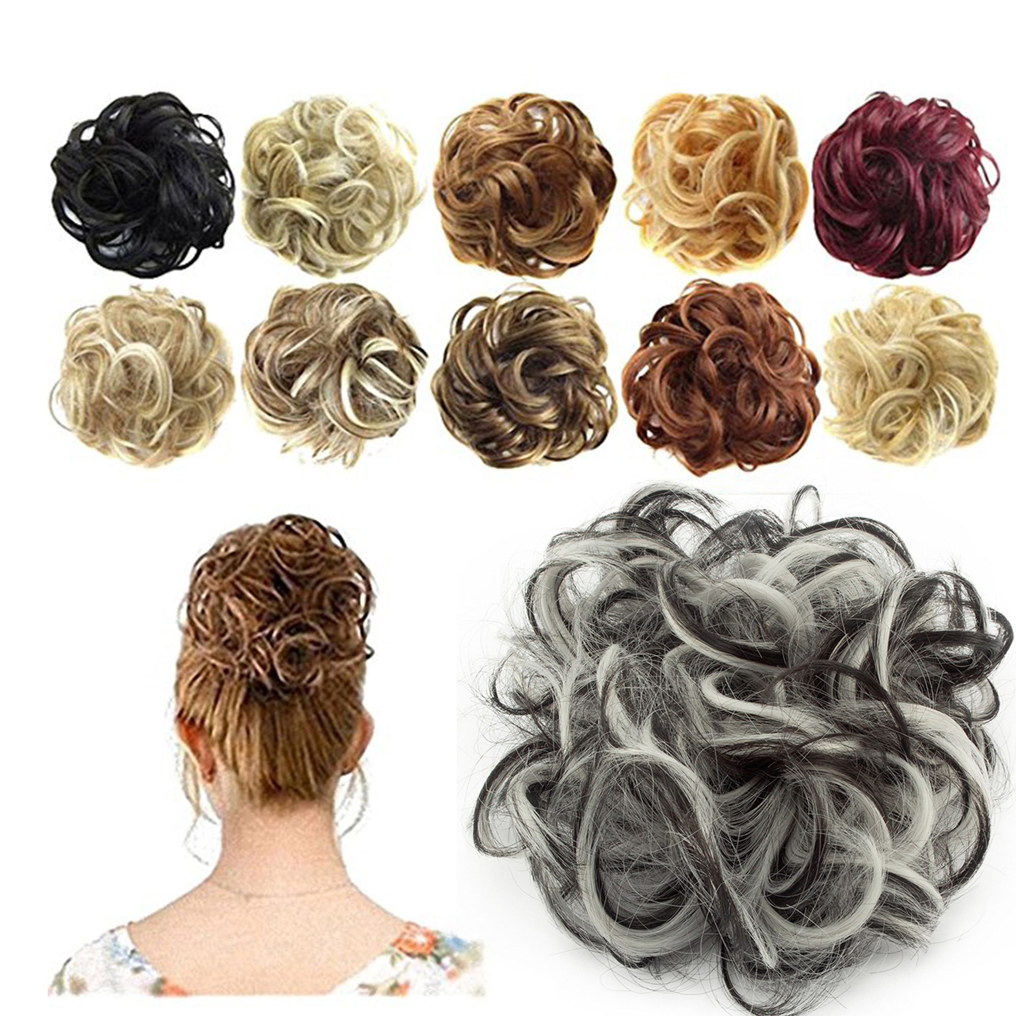 FLORATA Synthetic Hair Bun Extensions Messy Hair Scrunchies Hair Pieces for Women Hair Donut Updo Ponytail