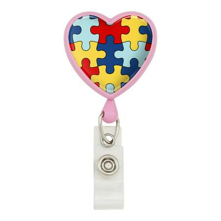 Autism Awareness Diversity Puzzle Pieces Heart Lanyard Retractable Reel Badge ID Card Holder - Pink