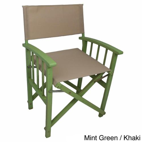 International Caravan Stained Acacia Mission Style Directors Chairs (Set of 2) Mint Green Hardwood/Khaki Textweave
