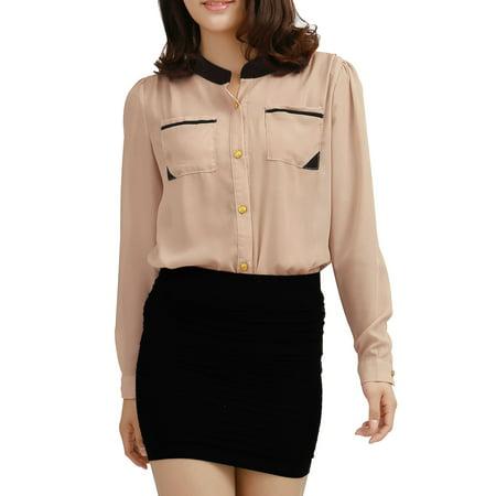 Unique Bargains Women's Contrast Color Stand Collar Chest Pockets Shirt