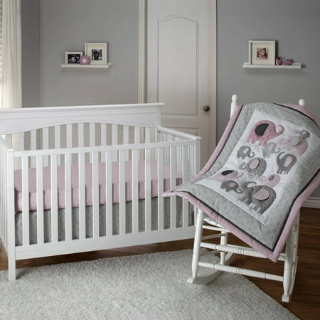 - Little Bedding by NoJo Elephant Time 3 Piece Crib Bedding Set, Pink
