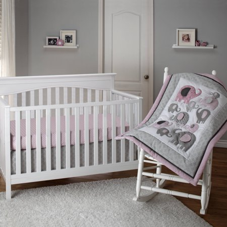 Satin Crib Bedding Set - Little Bedding by NoJo Elephant Time 3 Piece Crib Bedding Set, Pink