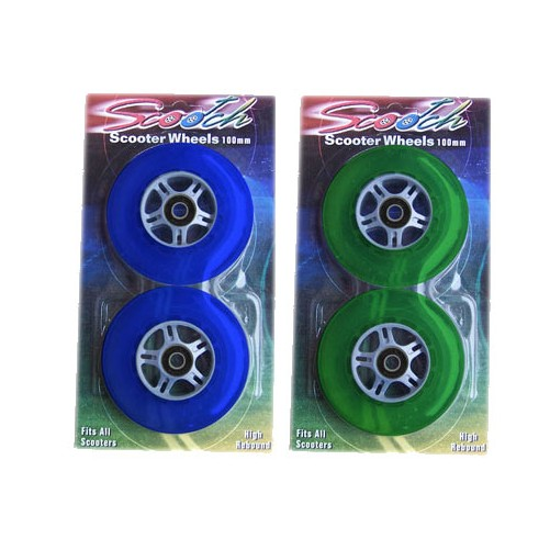 4 WHEELS 2ea Blue/Green With Bearings for RAZOR SCOOTER
