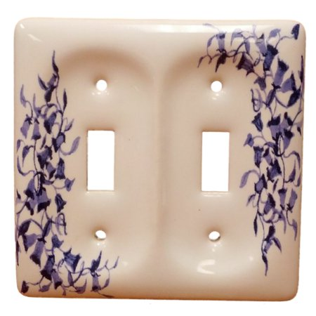Leviton Blue Vine Pattern 2-Gang Porcelain Switch Cover Toggle Wallplate 89509-BL