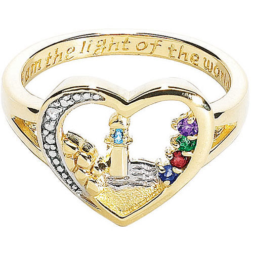 Personalized 18K Gold over sterling Lighthouse Birthstone Ring