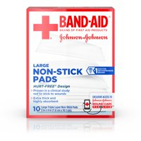 (2 pack) Band-Aid Brand Hurt-Free Non-Stick Pads, Large, 3 in x 4 in, 10 count
