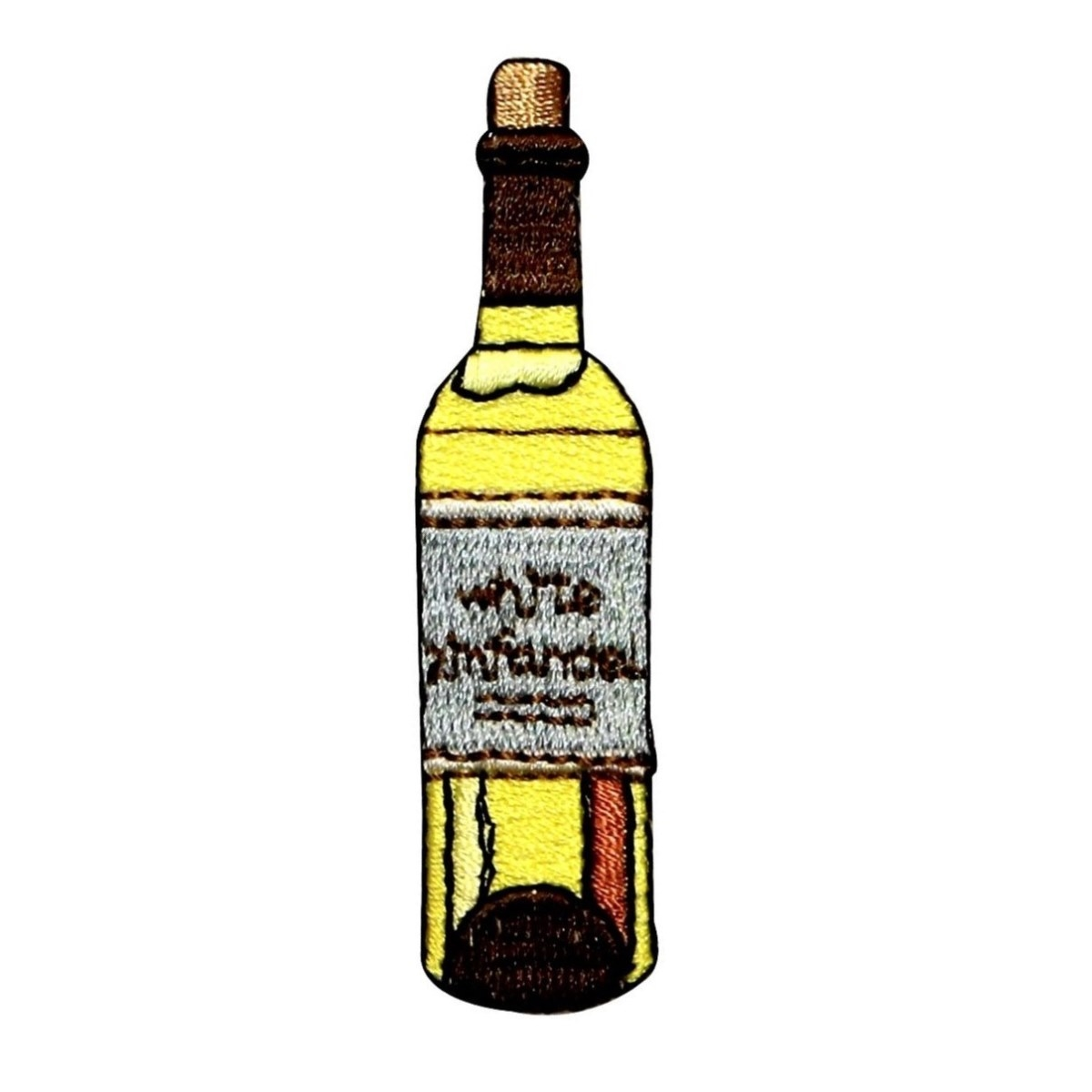 ID 1146 Wine Bottle Patch White Zinfandel Glass Embroidered Iron On Applique