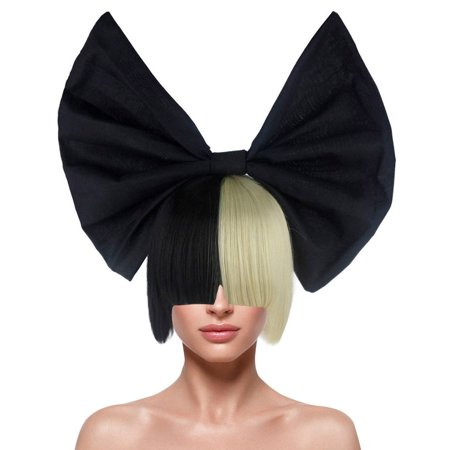 Wig for Australian Singer Black & Blonde with Black Bow HW-205