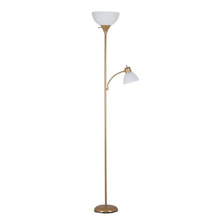 Mainstays 72 Combo Floor Lamp with Adjustable Reading Lamp, Gold