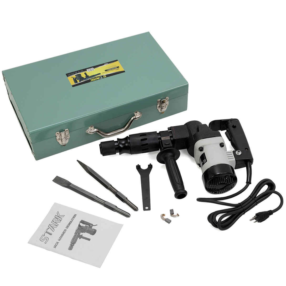 """1000W 1-1/2"""" Electric Jack Hammer Concrete Breaker, with Chisel Bits&Case"""