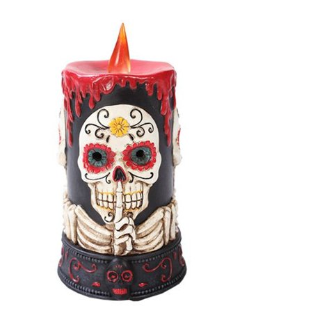 10895 Spooky Day of the Dead Skull LED Light Candle Figurine Made of Polyresin, Item is made of Polynesian, hand painted and polished By Pacific Giftware (Day Of The Dead Candles)