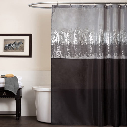 Night Sky Black and Gray Shower Curtain by Triangle Home Fashions