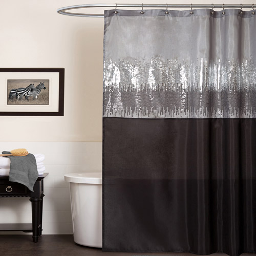 Night Sky Black and Gray Shower Curtain