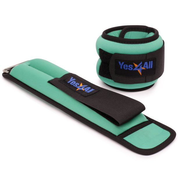 Yes4All Ankle / Wrist Neoprene Weight, Pair (2.5 lbs, Green)