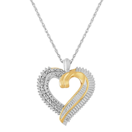 "1/10 CTTW Diamond Open Heart Pendant in Sterling Silver & 18K Yellow Gold-Plate, 18"" Necklace"