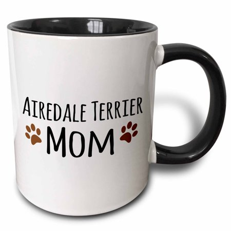 3dRose Airedale Terrier Dog Mom - breed-specific design with brown paw prints - doggie lovers - doggy love - Two Tone Black Mug, 11-ounce