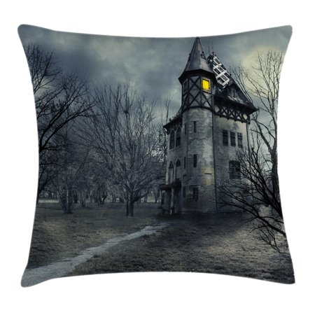 Scenery Decor Throw Pillow Cushion Cover, Halloween Design with Gothic Haunted House Dark Sky and Leafless Trees Spooky Theme, Decorative Square Accent Pillow Case, 18 X 18 Inches, Grey, by Ambesonne](Halloween Main Theme Mp3)