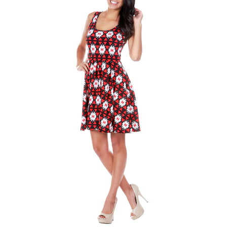 Women's Triangle Printed Fit and Flare Mini Dress