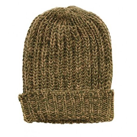 SANREMO Unisex Kids Warm Marled Knit Winter Beanie Hat (Camel / Olive)