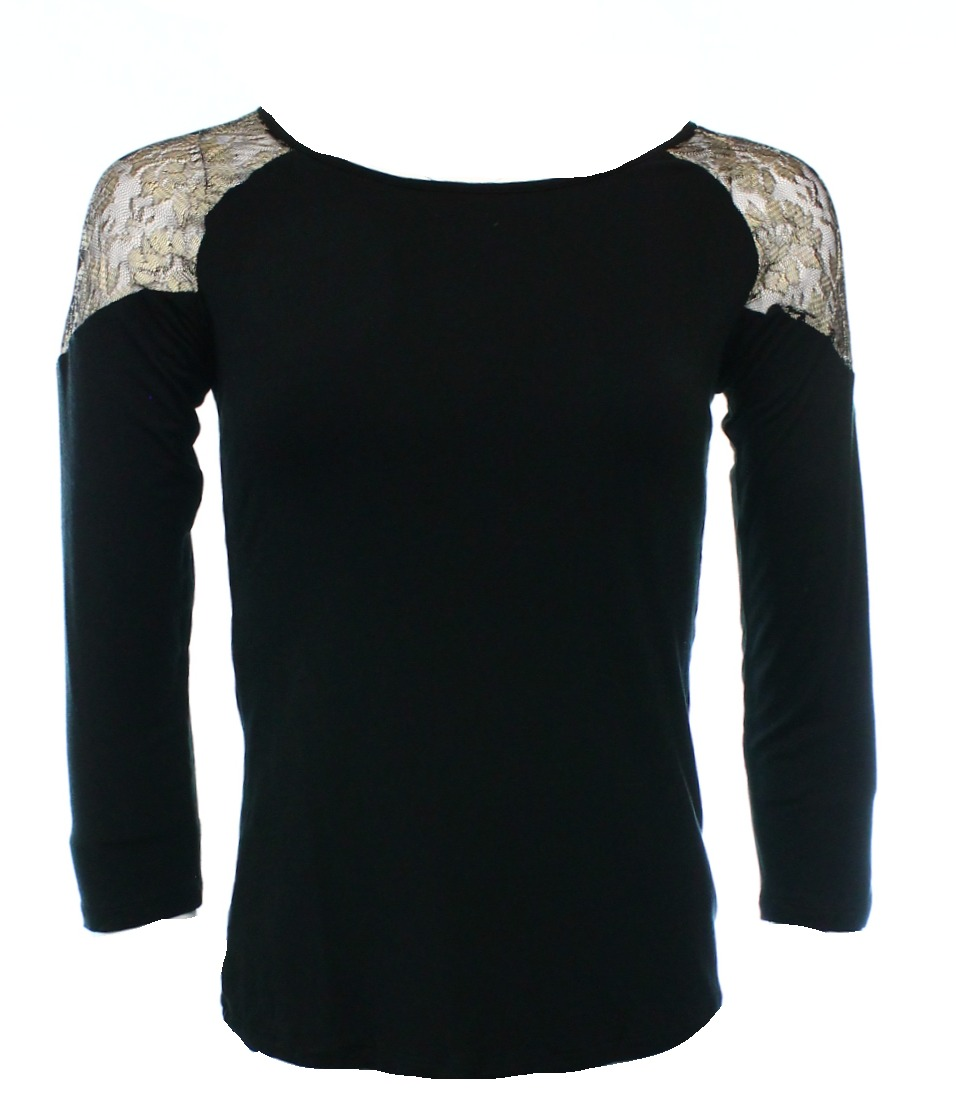 81afb4acea8343 INC - INC NEW Black Gold Floral Lace Trim Scoop Neck Women's Size XS ...